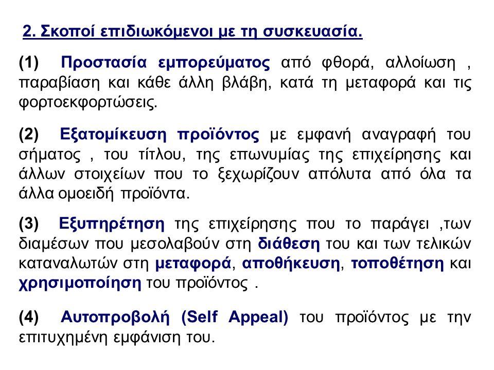 2. Σκοποί επιδιωκόμενοι με τη συσκευασία. (1) Προστασία εμπορεύματος από φθορά, αλλοίωση, παραβίαση και κάθε άλλη βλάβη, κατά τη μεταφορά και τις φορτ