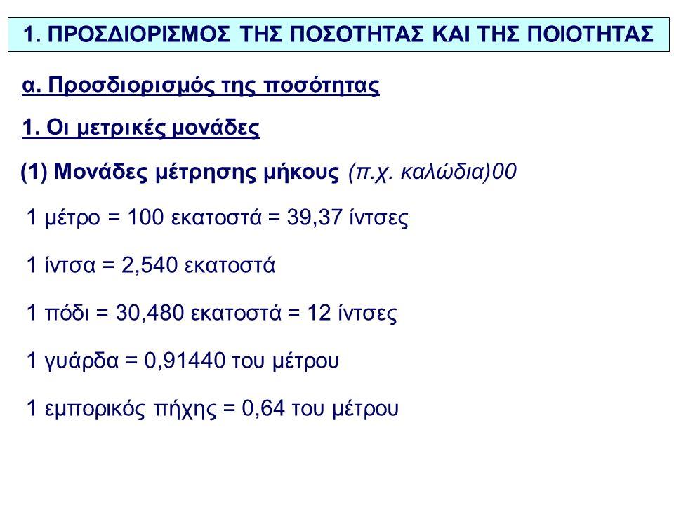 1. ΠΡΟΣΔΙΟΡΙΣΜΟΣ ΤΗΣ ΠΟΣΟΤΗΤΑΣ ΚΑΙ ΤΗΣ ΠΟΙΟΤΗΤΑΣ α. Προσδιορισμός της ποσότητας 1. Οι μετρικές μονάδες (1) Μονάδες μέτρησης μήκους (π.χ. καλώδια)00 1