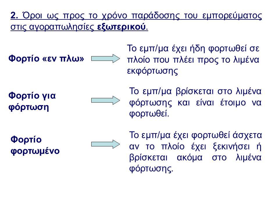 2. Όροι ως προς το χρόνο παράδοσης του εμπορεύματος στις αγοραπωλησίες εξωτερικού.