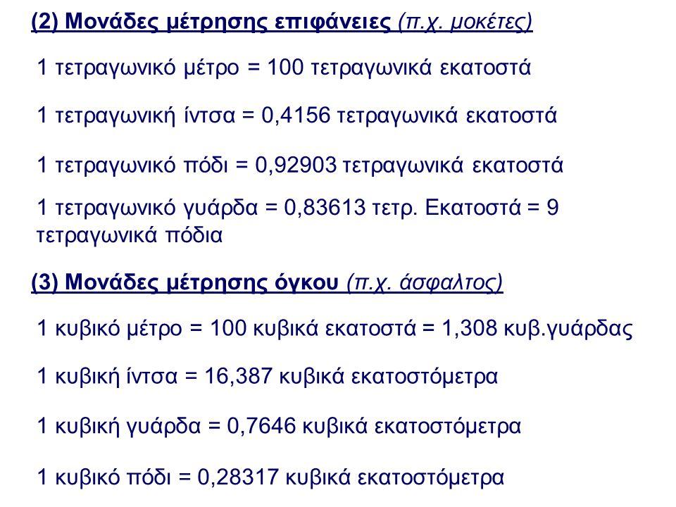 (2) Μονάδες μέτρησης επιφάνειες (π.χ. μοκέτες) 1 τετραγωνικό μέτρο = 100 τετραγωνικά εκατοστά 1 τετραγωνική ίντσα = 0,4156 τετραγωνικά εκατοστά 1 τετρ