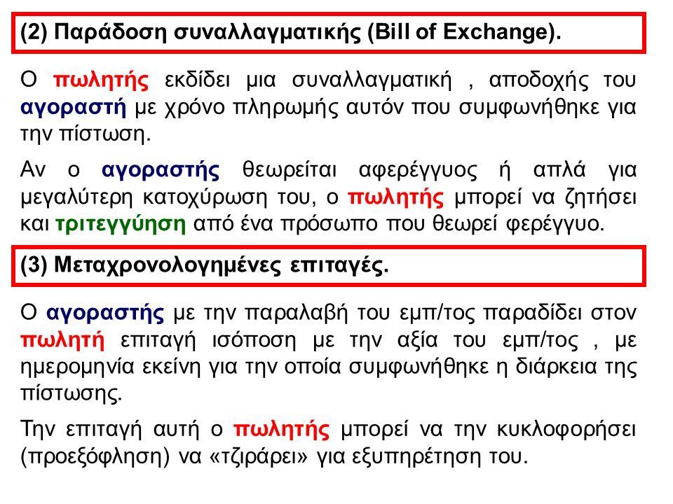 (2) Παράδοση συναλλαγματικής (Bill of Exchange). O πωλητής εκδίδει μια συναλλαγματική, αποδοχής του αγοραστή με χρόνο πληρωμής αυτόν που συμφωνήθηκε γ