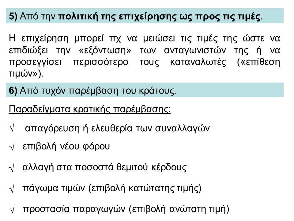 5) Από την πολιτική της επιχείρησης ως προς τις τιμές.