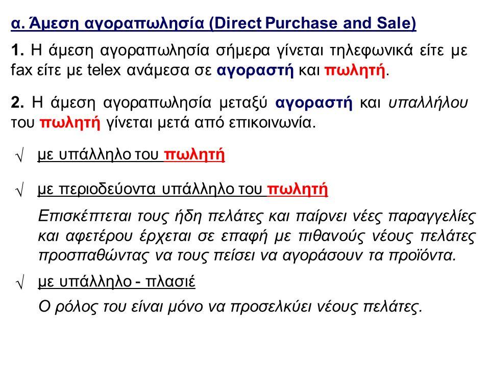 α. Άμεση αγοραπωλησία (Direct Purchase and Sale) √ με υπάλληλο του πωλητή √ με περιοδεύοντα υπάλληλο του πωλητή √ με υπάλληλο - πλασιέ 1. Η άμεση αγορ
