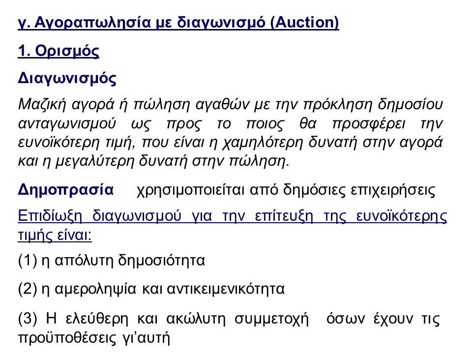 γ. Αγοραπωλησία με διαγωνισμό (Auction) Δημοπρασίαχρησιμοποιείται από δημόσιες επιχειρήσεις Επιδίωξη διαγωνισμού για την επίτευξη της ευνοϊκότερης τιμ