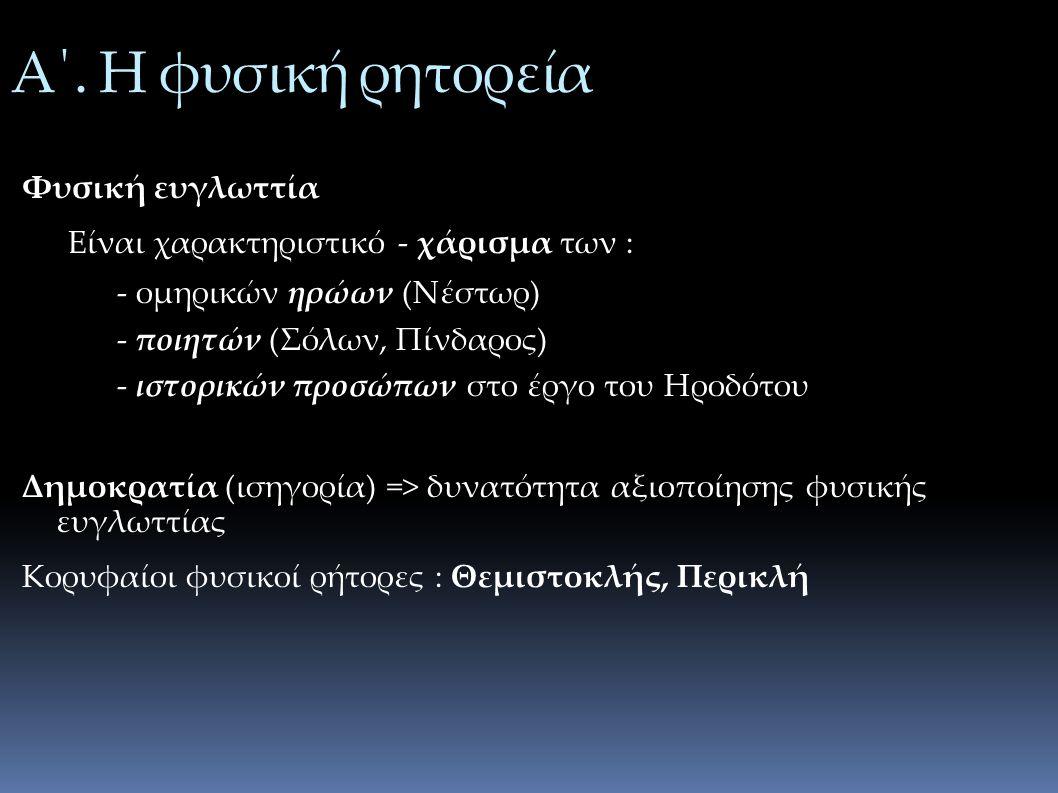 Α΄. Η φυσική ρητορεία Φυσική ευγλωττία Είναι χαρακτηριστικό - χάρισμα των : - ομηρικών ηρώων (Νέστωρ) - ποιητών (Σόλων, Πίνδαρος) - ιστορικών προσώπων