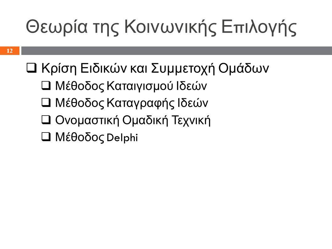 Θεωρία της Κοινωνικής Ε π ιλογής  Κρίση Ειδικών και Συμμετοχή Ομάδων  Μέθοδος Καταιγισμού Ιδεών  Μέθοδος Καταγραφής Ιδεών  Ονομαστική Ομαδική Τεχνική  Μέθοδος Delphi 12