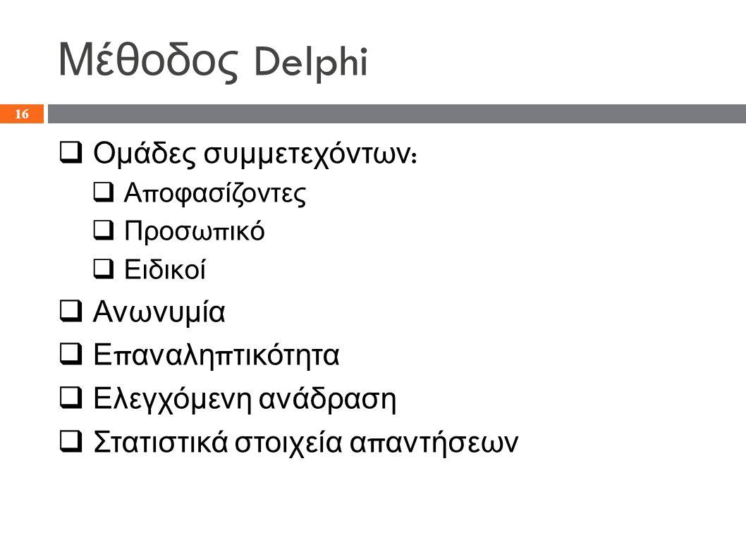 Μέθοδος Delphi  Ομάδες συμμετεχόντων :  Α π οφασίζοντες  Προσω π ικό  Ειδικοί  Ανωνυμία  Ε π αναλη π τικότητα  Ελεγχόμενη ανάδραση  Στατιστικά στοιχεία α π αντήσεων 16