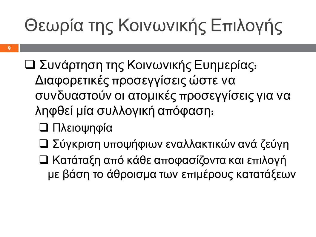 Θεωρία της Κοινωνικής Ε π ιλογής  Συνάρτηση της Κοινωνικής Ευημερίας :  Αξιώματα του Arrow (1950, 1963):  Διάταξη : Η διάταξη των εναλλακτικών π ρέ π ει να είναι π λήρης και μεταβατική  Γενικό π εδίο ορισμού : Όλες οι ατομικές διατάξεις π ροτιμήσεων ε π ιτρέ π ονται στο σύστημα ( όλοι οι εμ π λεκόμενοι δικαιούνται να π ροσθέσουν μία διάταξη )  Ανεξαρτησία των ασυσχέτιστων εναλλακτικών : Η κατάταξη των a και b, δεν εξαρτάται α π ό το π ώς οι συμμετέχοντες κατατάσσουν τα c,d,…etc.