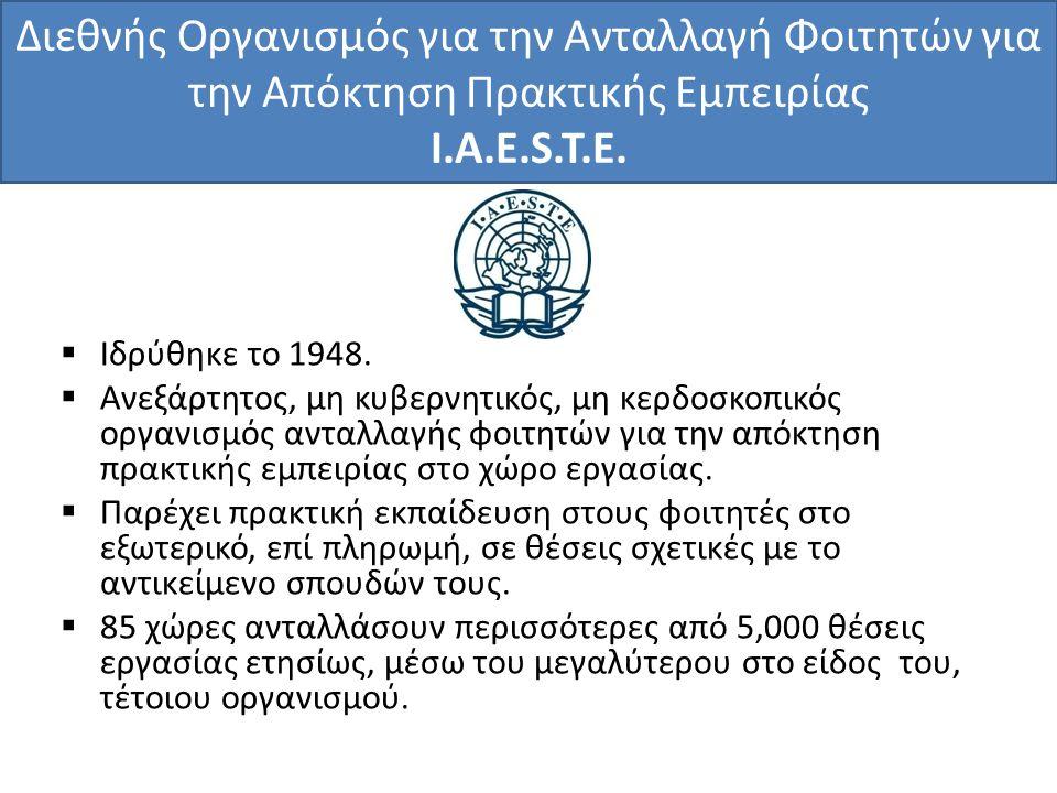 Διεθνής Οργανισμός για την Ανταλλαγή Φοιτητών για την Απόκτηση Πρακτικής Εμπειρίας I.A.E.S.T.E.