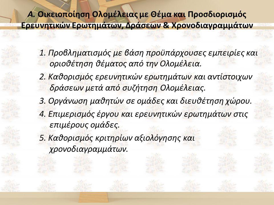 Α. Οικειοποίηση Ολομέλειας με Θέμα και Προσδιορισμός Ερευνητικών Ερωτημάτων, Δράσεων & Χρονοδιαγραμμάτων 1. Προβληματισμός με βάση προϋπάρχουσες εμπει