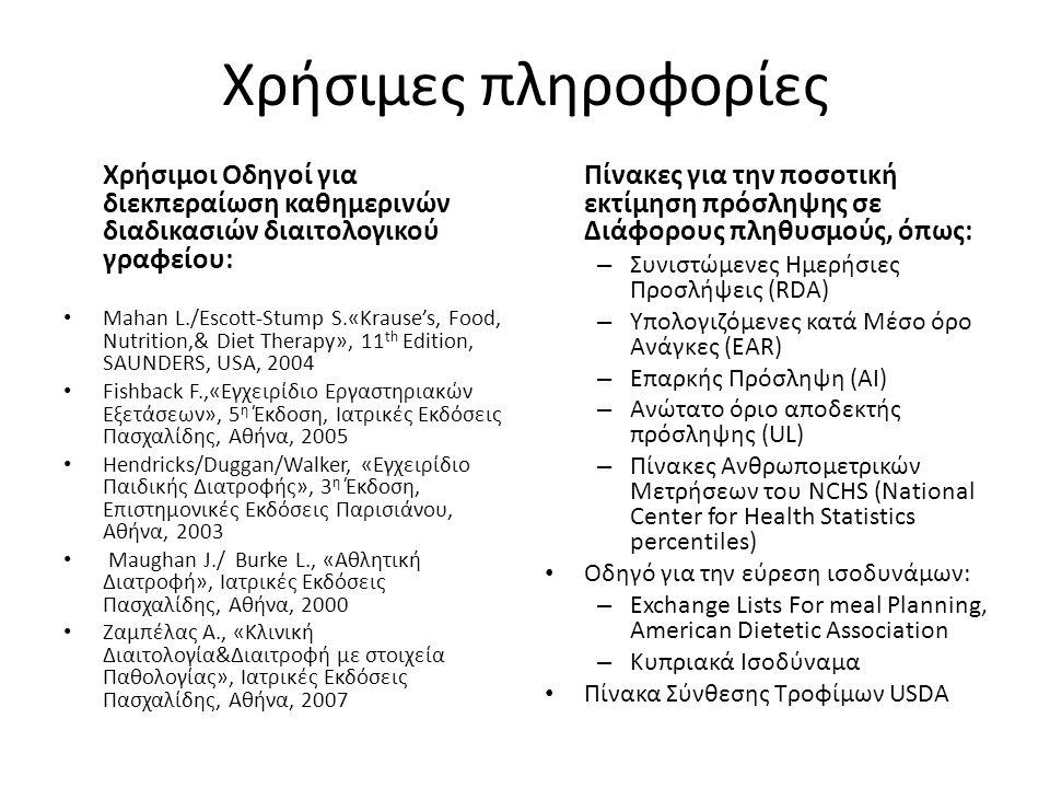 Χρήσιμες πληροφορίες Χρήσιμοι Οδηγοί για διεκπεραίωση καθημερινών διαδικασιών διαιτολογικού γραφείου: Mahan L./Escott-Stump S.«Krause's, Food, Nutrition,& Diet Therapy», 11 th Edition, SAUNDERS, USA, 2004 Fishback F.,«Εγχειρίδιο Εργαστηριακών Εξετάσεων», 5 η Έκδοση, Ιατρικές Εκδόσεις Πασχαλίδης, Αθήνα, 2005 Hendricks/Duggan/Walker, «Εγχειρίδιο Παιδικής Διατροφής», 3 η Έκδοση, Επιστημονικές Εκδόσεις Παρισιάνου, Αθήνα, 2003 Maughan J./ Burke L., «Αθλητική Διατροφή», Ιατρικές Εκδόσεις Πασχαλίδης, Αθήνα, 2000 Ζαμπέλας Α., «Κλινική Διαιτολογία&Διαιτροφή με στοιχεία Παθολογίας», Ιατρικές Εκδόσεις Πασχαλίδης, Αθήνα, 2007 Πίνακες για την ποσοτική εκτίμηση πρόσληψης σε Διάφορους πληθυσμούς, όπως: – Συνιστώμενες Ημερήσιες Προσλήψεις (RDA) – Υπολογιζόμενες κατά Μέσο όρο Ανάγκες (EAR) – Επαρκής Πρόσληψη (AI) – Ανώτατο όριο αποδεκτής πρόσληψης (UL) – Πίνακες Ανθρωπομετρικών Μετρήσεων του NCHS (National Center for Health Statistics percentiles) Οδηγό για την εύρεση ισοδυνάμων: – Exchange Lists For meal Planning, American Dietetic Association – Κυπριακά Ισοδύναμα Πίνακα Σύνθεσης Τροφίμων USDA