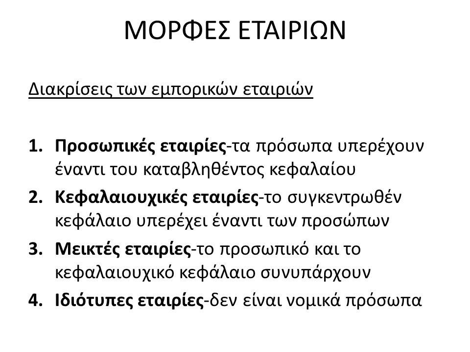 ΜΟΡΦΕΣ ΕΤΑΙΡΙΩΝ (συν.) Η Ελληνική εμπορική νομοθεσία προβλέπει τους παρακάτω τύπους εταιριών: Α.