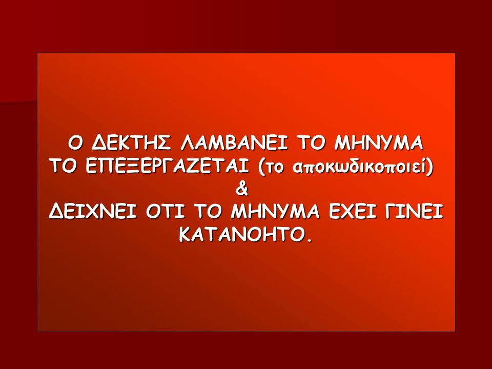 Ο ΔΕΚΤΗΣ ΛΑΜΒΑΝΕΙ ΤΟ ΜΗΝΥΜΑ ΤΟ ΕΠΕΞΕΡΓΑΖΕΤΑΙ (το αποκωδικοποιεί) & ΔΕΙΧΝΕΙ ΟΤΙ ΤΟ ΜΗΝΥΜΑ ΕΧΕΙ ΓΙΝΕΙ ΚΑΤΑΝΟΗΤΟ.