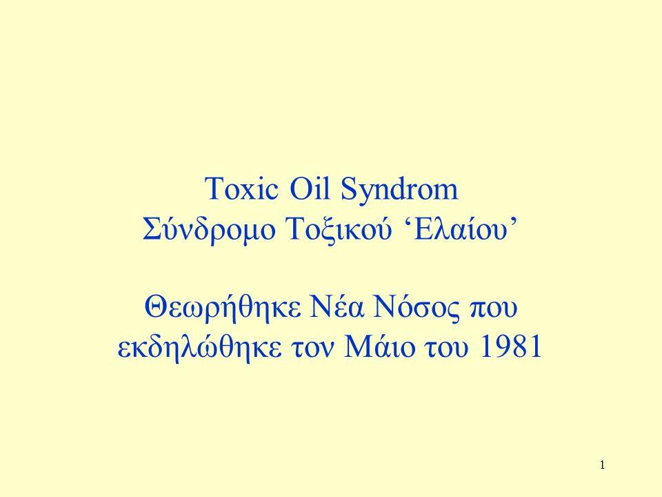 1 Toxic Oil Syndrom Σύνδρομο Τοξικού 'Ελαίου' Θεωρήθηκε Νέα Νόσος που εκδηλώθηκε τον Μάιο του 1981
