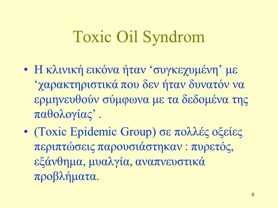 6 Τoxic Oil Syndrom Η κλινική εικόνα ήταν 'συγκεχυμένη' με 'χαρακτηριστικά που δεν ήταν δυνατόν να ερμηνευθούν σύμφωνα με τα δεδομένα της παθολογίας'.