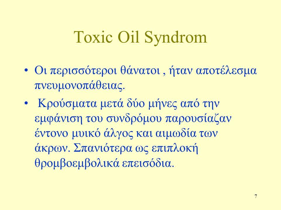 7 Τoxic Oil Syndrom Οι περισσότεροι θάνατοι, ήταν αποτέλεσμα πνευμονοπάθειας. Κρούσματα μετά δύο μήνες από την εμφάνιση του συνδρόμου παρουσίαζαν έντο