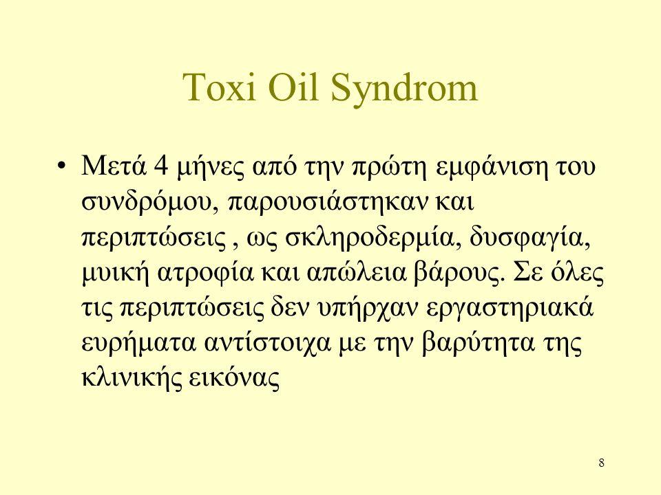 8 Toxi Oil Syndrom Μετά 4 μήνες από την πρώτη εμφάνιση του συνδρόμου, παρουσιάστηκαν και περιπτώσεις, ως σκληροδερμία, δυσφαγία, μυική ατροφία και απώλεια βάρους.