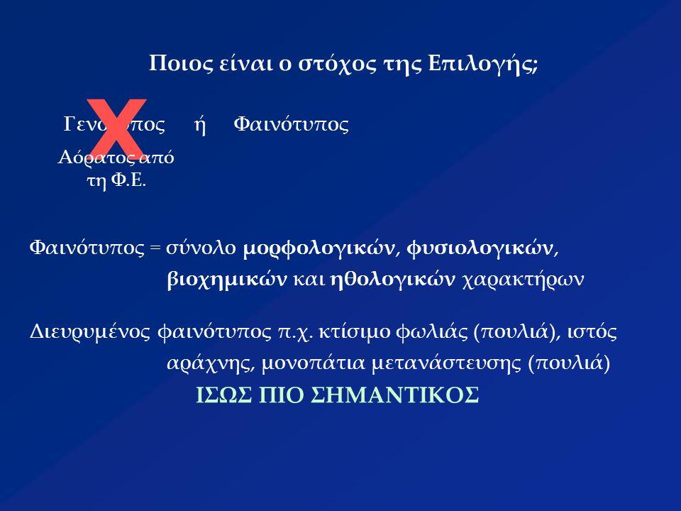 Ποιος είναι ο στόχος της Επιλογής; ΓενότυποςήΦαινότυπος Χ Αόρατος από τη Φ.Ε.