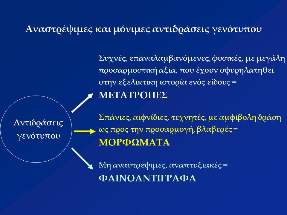Αναστρέψιμες και μόνιμες αντιδράσεις γενότυπου Συχνές, επαναλαμβανόμενες, φυσικές, με μεγάλη προσαρμοστική αξία, που έχουν σφυρηλατηθεί στην εξελικτική ιστορία ενός είδους = ΜΕΤΑΤΡΟΠΕΣ Σπάνιες, αιφνίδιες, τεχνητές, με αμφίβολη δράση ως προς την προσαρμογή, βλαβερές = ΜΟΡΦΩΜΑΤΑ Μη αναστρέψιμες, αναπτυξιακές = ΦΑΙΝΟΑΝΤΙΓΡΑΦΑ Αντιδράσεις γενότυπου