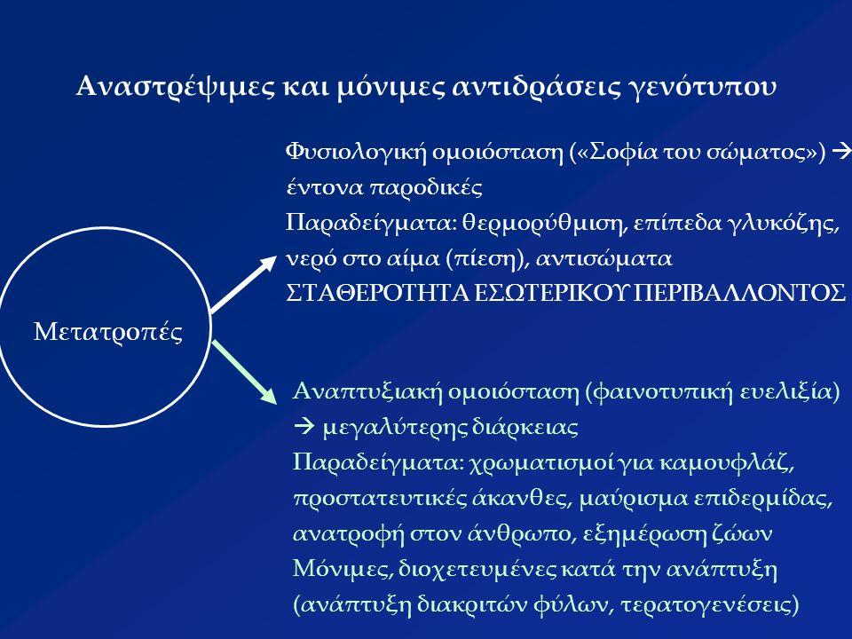 Αναστρέψιμες και μόνιμες αντιδράσεις γενότυπου Μετατροπές Φυσιολογική ομοιόσταση («Σοφία του σώματος»)  έντονα παροδικές Παραδείγματα: θερμορύθμιση, επίπεδα γλυκόζης, νερό στο αίμα (πίεση), αντισώματα ΣΤΑΘΕΡΟΤΗΤΑ ΕΣΩΤΕΡΙΚΟΥ ΠΕΡΙΒΑΛΛΟΝΤΟΣ Αναπτυξιακή ομοιόσταση (φαινοτυπική ευελιξία)  μεγαλύτερης διάρκειας Παραδείγματα: χρωματισμοί για καμουφλάζ, προστατευτικές άκανθες, μαύρισμα επιδερμίδας, ανατροφή στον άνθρωπο, εξημέρωση ζώων Μόνιμες, διοχετευμένες κατά την ανάπτυξη (ανάπτυξη διακριτών φύλων, τερατογενέσεις)