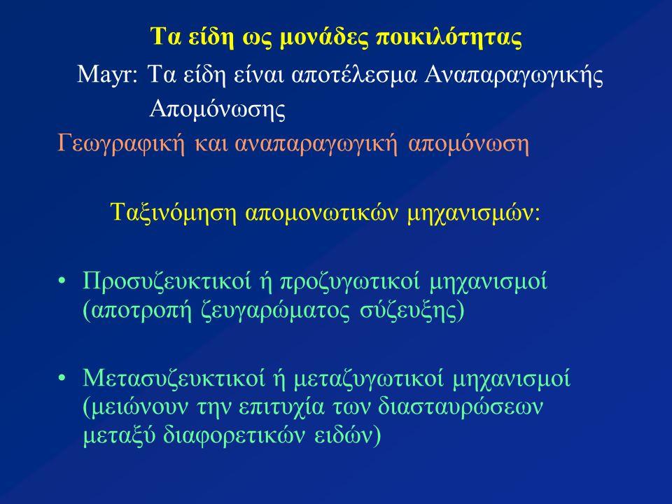 Τα είδη ως μονάδες ποικιλότητας Mayr: Τα είδη είναι αποτέλεσμα Αναπαραγωγικής Απομόνωσης Γεωγραφική και αναπαραγωγική απομόνωση Ταξινόμηση απομονωτικών μηχανισμών: Προσυζευκτικοί ή προζυγωτικοί μηχανισμοί (αποτροπή ζευγαρώματος σύζευξης) Μετασυζευκτικοί ή μεταζυγωτικοί μηχανισμοί (μειώνουν την επιτυχία των διασταυρώσεων μεταξύ διαφορετικών ειδών)