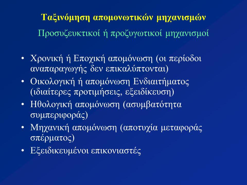 Ταξινόμηση απομονωτικών μηχανισμών Προσυζευκτικοί ή προζυγωτικοί μηχανισμοί Χρονική ή Εποχική απομόνωση (οι περίοδοι αναπαραγωγής δεν επικαλύπτονται) Οικολογική ή απομόνωση Ενδιαιτήματος (ιδιαίτερες προτιμήσεις, εξειδίκευση) Ηθολογική απομόνωση (ασυμβατότητα συμπεριφοράς) Μηχανική απομόνωση (αποτυχία μεταφοράς σπέρματος) Εξειδικευμένοι επικονιαστές