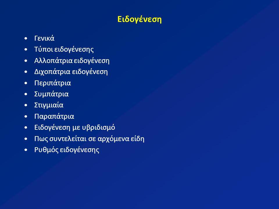 Ειδογένεση Γενικά Τύποι ειδογένεσης Αλλοπάτρια ειδογένεση Διχοπάτρια ειδογένεση Περιπάτρια Συμπάτρια Στιγμιαία Παραπάτρια Ειδογένεση με υβριδισμό Πως συντελείται σε αρχόμενα είδη Ρυθμός ειδογένεσης