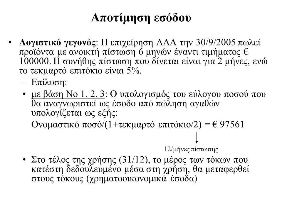 Αποτίμηση εσόδου Λογιστικό γεγονός: Η επιχείρηση ΑΑΑ την 30/9/2005 πωλεί προϊόντα με ανοικτή πίστωση 6 μηνών έναντι τιμήματος € 100000.