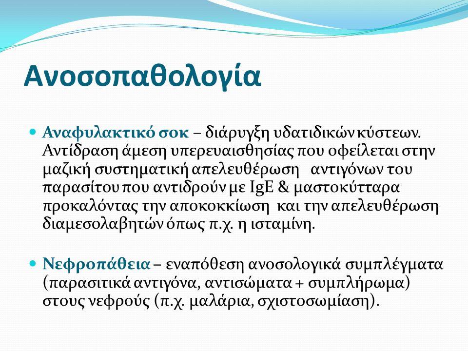 Ανοσοπαθολογία Αναφυλακτικό σοκ – διάρυγξη υδατιδικών κύστεων.