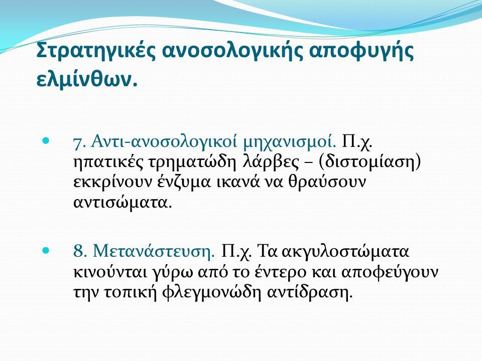 Στρατηγικές ανοσολογικής αποφυγής ελμίνθων. 7. Αντι-ανοσολογικοί μηχανισμοί.