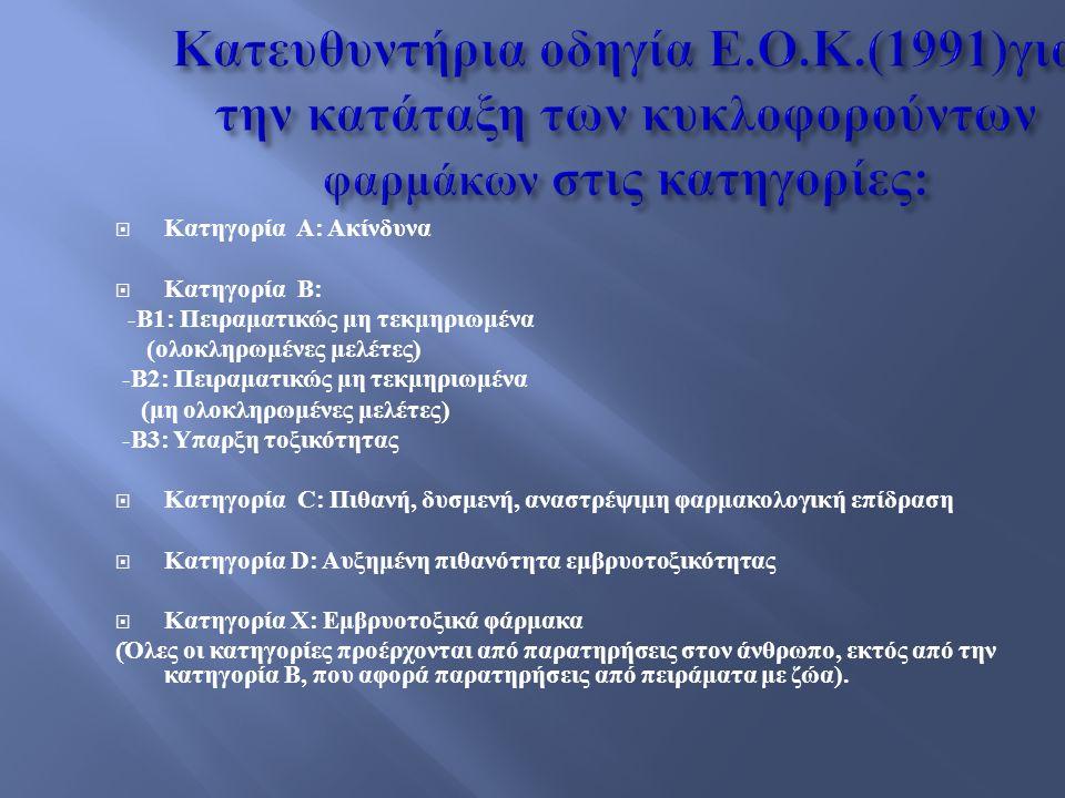  Κατηγορία Α: Ακίνδυνα  Κατηγορία Β: -Β1: Πειραματικώς μη τεκμηριωμένα (ολοκληρωμένες μελέτες) -Β2: Πειραματικώς μη τεκμηριωμένα (μη ολοκληρωμένες μελέτες) -Β3: Υπαρξη τοξικότητας  Κατηγορία C: Πιθανή, δυσμενή, αναστρέψιμη φαρμακολογική επίδραση  Κατηγορία D: Αυξημένη πιθανότητα εμβρυοτοξικότητας  Κατηγορία Χ: Εμβρυοτοξικά φάρμακα (Όλες οι κατηγορίες προέρχονται από παρατηρήσεις στον άνθρωπο, εκτός από την κατηγορία Β, που αφορά παρατηρήσεις από πειράματα με ζώα).