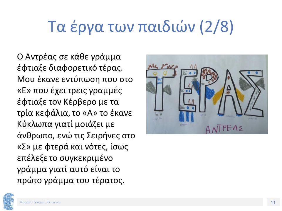 11 Μορφή Γραπτού Κειμένου Τα έργα των παιδιών (2/8) Ο Αντρέας σε κάθε γράμμα έφτιαξε διαφορετικό τέρας.