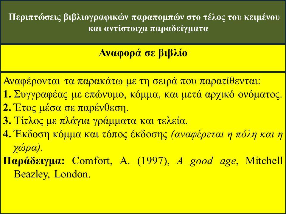 Περιπτώσεις βιβλιογραφικών παραπομπών στο τέλος του κειμένου και αντίστοιχα παραδείγματα Αναφορά σε βιβλίο Αναφέρονται τα παρακάτω με τη σειρά που παρατίθενται: 1.