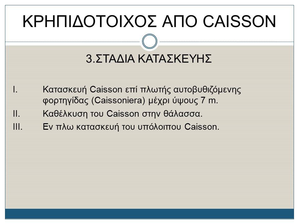 3.ΣΤΑΔΙΑ ΚΑΤΑΣΚΕΥΗΣ Ι. Κατασκευή Caisson επί πλωτής αυτοβυθιζόμενης φορτηγίδας (Caissoniera) μέχρι ύψους 7 m. II.Καθέλκυση του Caisson στην θάλασσα. Ι