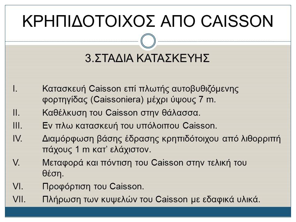 ΚΡΗΠΙΔΟΤΟΙΧΟΣ ΑΠΟ CAISSON 3.ΣΤΑΔΙΑ ΚΑΤΑΣΚΕΥΗΣ Ι. Κατασκευή Caisson επί πλωτής αυτοβυθιζόμενης φορτηγίδας (Caissoniera) μέχρι ύψους 7 m. II.Καθέλκυση τ