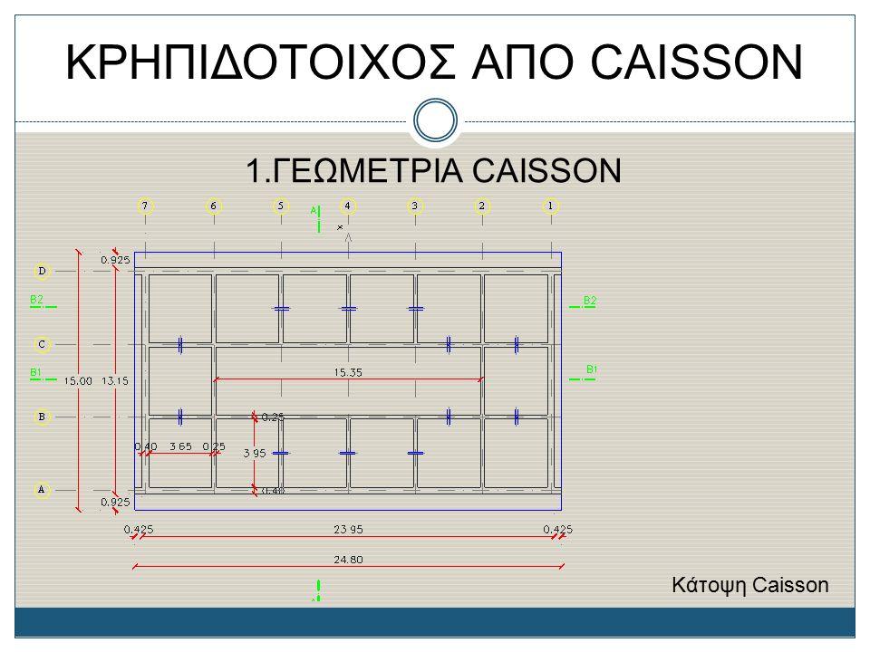 ΚΡΗΠΙΔΟΤΟΙΧΟΣ ΑΠΟ CAISSON 1.ΓΕΩΜΕΤΡΙΑ CAISSON Κάτοψη Caisson