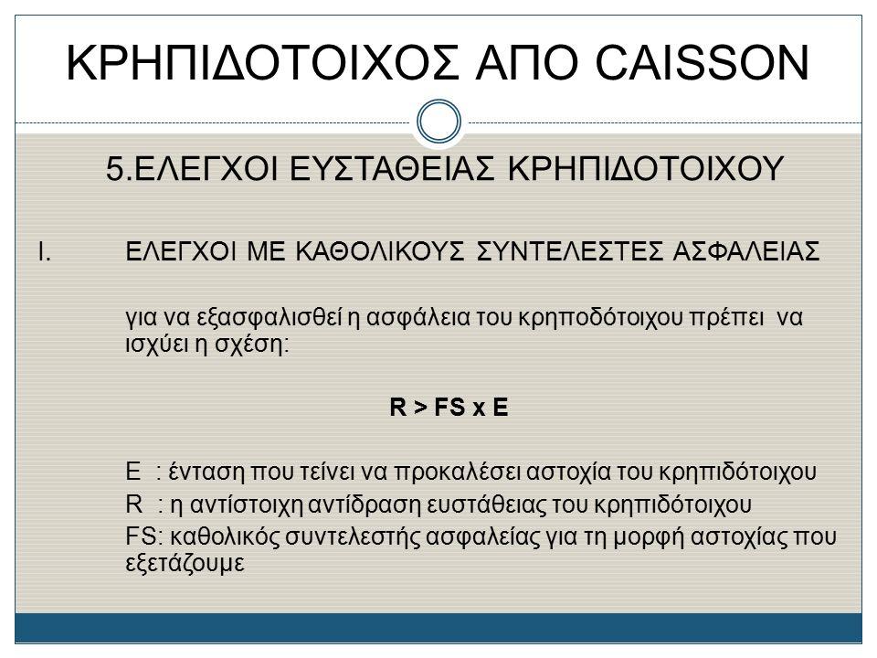 ΚΡΗΠΙΔΟΤΟΙΧΟΣ ΑΠΟ CAISSON 5.ΕΛΕΓΧΟΙ ΕΥΣΤΑΘΕΙΑΣ ΚΡΗΠΙΔΟΤΟΙΧΟΥ Ι. ΕΛΕΓΧΟΙ ΜΕ ΚΑΘΟΛΙΚΟΥΣ ΣΥΝΤΕΛΕΣΤΕΣ ΑΣΦΑΛΕΙΑΣ για να εξασφαλισθεί η ασφάλεια του κρηποδό