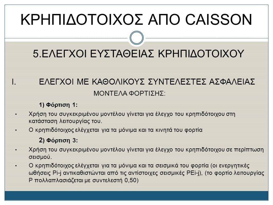 ΚΡΗΠΙΔΟΤΟΙΧΟΣ ΑΠΟ CAISSON 5.ΕΛΕΓΧΟΙ ΕΥΣΤΑΘΕΙΑΣ ΚΡΗΠΙΔΟΤΟΙΧΟΥ Ι. ΕΛΕΓΧΟΙ ΜΕ ΚΑΘΟΛΙΚΟΥΣ ΣΥΝΤΕΛΕΣΤΕΣ ΑΣΦΑΛΕΙΑΣ ΜΟΝΤΕΛΑ ΦΟΡΤΙΣΗΣ: 1) Φόρτιση 1: Χρήση του
