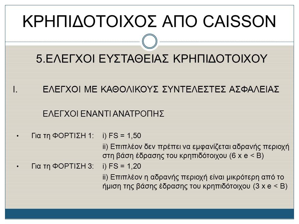 ΚΡΗΠΙΔΟΤΟΙΧΟΣ ΑΠΟ CAISSON 5.ΕΛΕΓΧΟΙ ΕΥΣΤΑΘΕΙΑΣ ΚΡΗΠΙΔΟΤΟΙΧΟΥ Ι. ΕΛΕΓΧΟΙ ΜΕ ΚΑΘΟΛΙΚΟΥΣ ΣΥΝΤΕΛΕΣΤΕΣ ΑΣΦΑΛΕΙΑΣ EΛΕΓΧΟΙ ΕΝΑΝΤΙ ΑΝΑΤΡΟΠΗΣ Για τη ΦΟΡΤΙΣΗ 1: