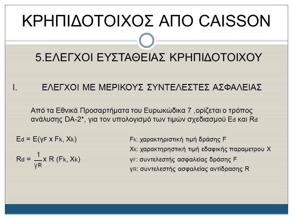 ΚΡΗΠΙΔΟΤΟΙΧΟΣ ΑΠΟ CAISSON 5.ΕΛΕΓΧΟΙ ΕΥΣΤΑΘΕΙΑΣ ΚΡΗΠΙΔΟΤΟΙΧΟΥ Ι. ΕΛΕΓΧΟΙ ΜΕ ΜΕΡΙΚΟΥΣ ΣΥΝΤΕΛΕΣΤΕΣ ΑΣΦΑΛΕΙΑΣ Από τα Εθνικά Προσαρτήματα του Ευρωκώδικα 7,
