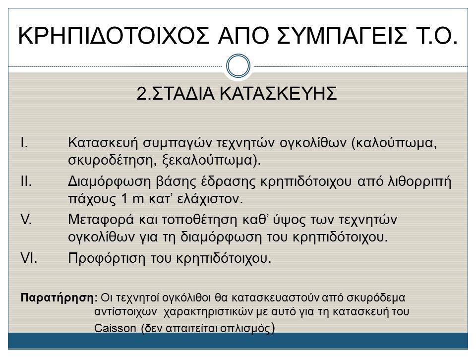 ΚΡΗΠΙΔΟΤΟΙΧΟΣ ΑΠΟ ΣΥΜΠΑΓΕΙΣ Τ.Ο. 2.ΣΤΑΔΙΑ ΚΑΤΑΣΚΕΥΗΣ Ι. Κατασκευή συμπαγών τεχνητών ογκολίθων (καλούπωμα, σκυροδέτηση, ξεκαλούπωμα). II.Διαμόρφωση βάσ