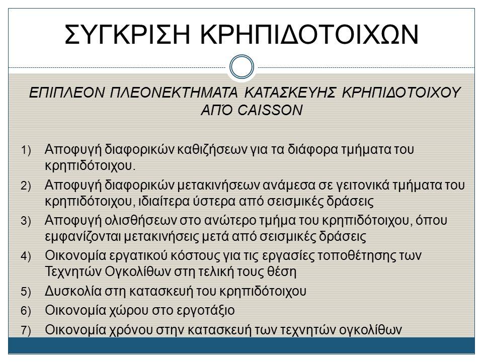 ΣΥΓΚΡΙΣΗ ΚΡΗΠΙΔΟΤΟΙΧΩΝ ΕΠΙΠΛΕΟΝ ΠΛΕΟΝΕΚΤΗΜΑΤΑ ΚΑΤΑΣΚΕΥΗΣ ΚΡΗΠΙΔΟΤΟΙΧΟΥ ΑΠΌ CAISSON 1) Αποφυγή διαφορικών καθιζήσεων για τα διάφορα τμήματα του κρηπιδό