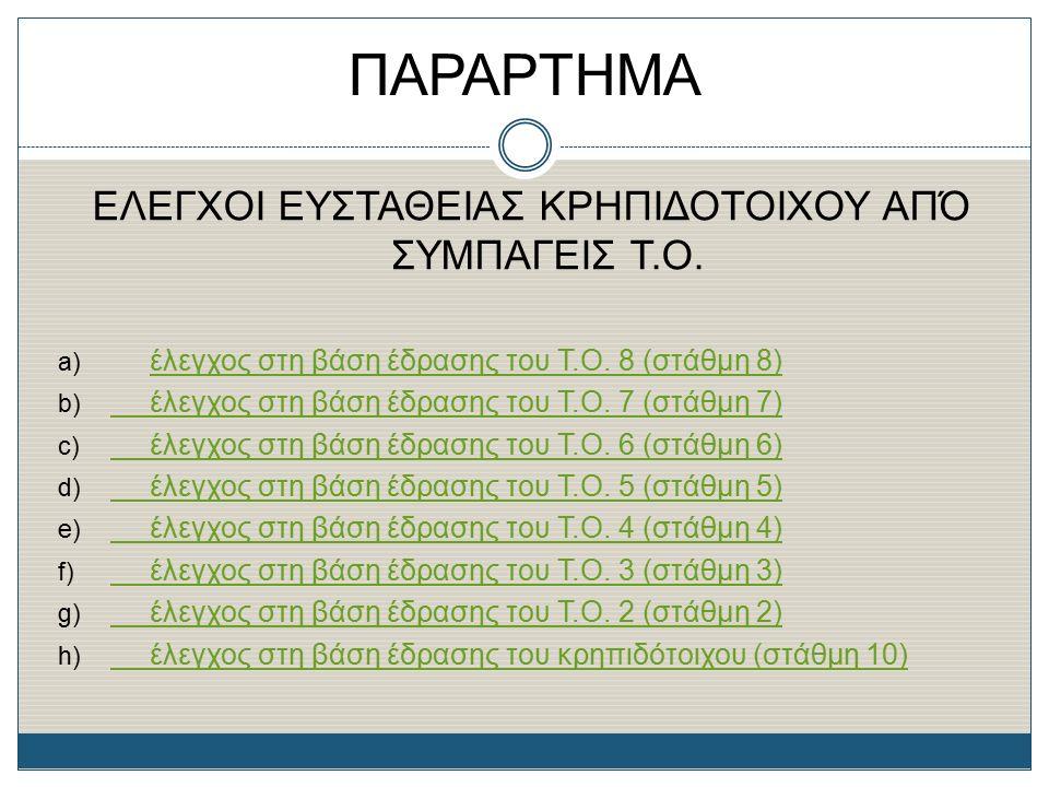 ΠΑΡΑΡΤΗΜΑ ΕΛΕΓΧΟΙ ΕΥΣΤΑΘΕΙΑΣ ΚΡΗΠΙΔΟΤΟΙΧΟΥ ΑΠΌ ΣΥΜΠΑΓΕΙΣ Τ.Ο. a) έλεγχος στη βάση έδρασης του Τ.Ο. 8 (στάθμη 8) έλεγχος στη βάση έδρασης του Τ.Ο. 8 (σ