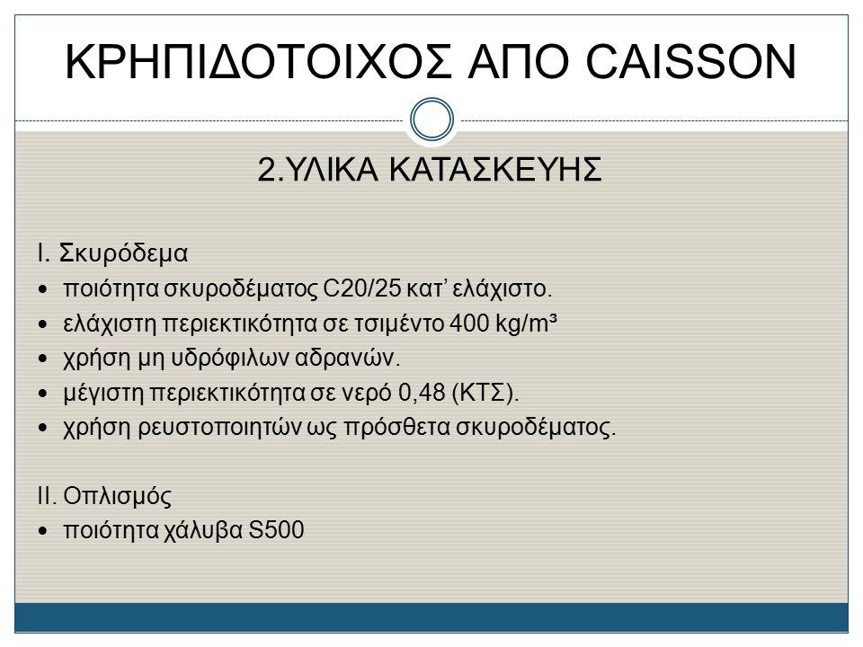 ΚΡΗΠΙΔΟΤΟΙΧΟΣ ΑΠΟ CAISSON 2.ΥΛΙΚΑ ΚΑΤΑΣΚΕΥΗΣ Ι. Σκυρόδεμα ποιότητα σκυροδέματος C20/25 κατ' ελάχιστο. ελάχιστη περιεκτικότητα σε τσιμέντο 400 kg/m³ χρ