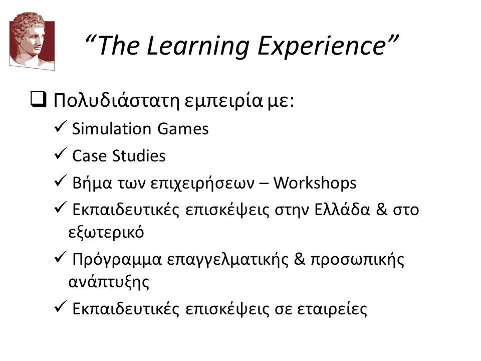 """The Learning Experience""  Πολυδιάστατη εμπειρία με: Simulation Games Case Studies Βήμα των επιχειρήσεων – Workshops Εκπαιδευτικές επισκέψεις στην Ελ"