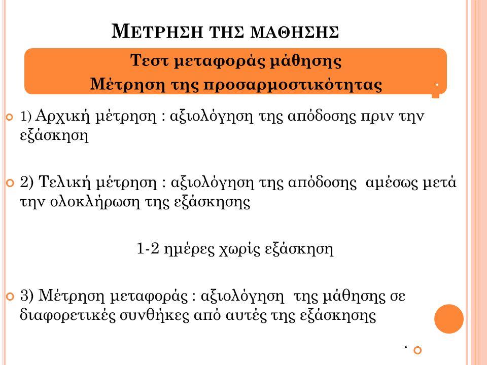 Μ ΕΤΡΗΣΗ ΤΗΣ ΜΑΘΗΣΗΣ 1) Αρχική μέτρηση : αξιολόγηση της απόδοσης πριν την εξάσκηση 2) Τελική μέτρηση : αξιολόγηση της απόδοσης αμέσως μετά την ολοκλήρωση της εξάσκησης 1-2 ημέρες χωρίς εξάσκηση 3) Μέτρηση μεταφοράς : αξιολόγηση της μάθησης σε διαφορετικές συνθήκες από αυτές της εξάσκησης.