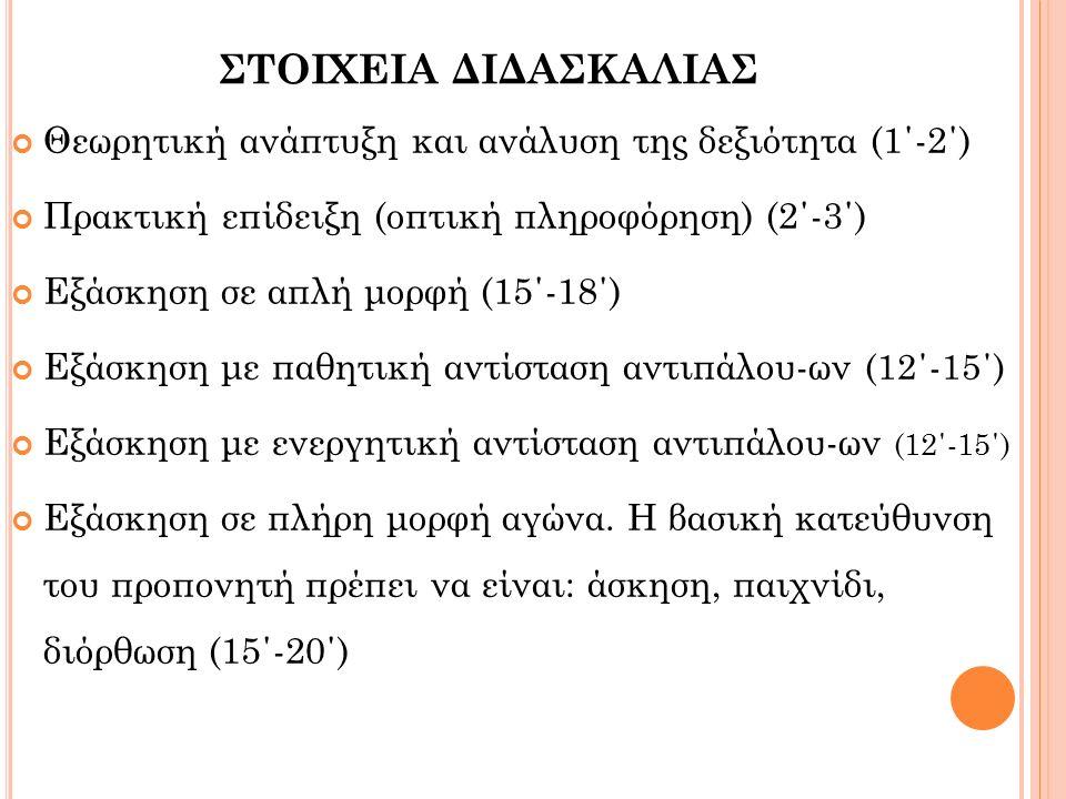 ΣΤΟΙΧΕΙΑ ΔΙΔΑΣΚΑΛΙΑΣ Θεωρητική ανάπτυξη και ανάλυση της δεξιότητα (1΄-2΄) Πρακτική επίδειξη (οπτική πληροφόρηση) (2΄-3΄) Εξάσκηση σε απλή μορφή (15΄-18΄) Εξάσκηση με παθητική αντίσταση αντιπάλου-ων (12΄-15΄) Εξάσκηση με ενεργητική αντίσταση αντιπάλου-ων (12΄-15΄) Εξάσκηση σε πλήρη μορφή αγώνα.