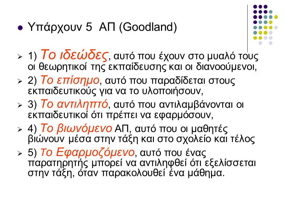 Υπάρχουν 5 ΑΠ (Goodland)  1) Το ιδεώδες, αυτό που έχουν στο μυαλό τους οι θεωρητικοί της εκπαίδευσης και οι διανοούμενοι,  2) To επίσημο, αυτό που παραδίδεται στους εκπαιδευτικούς για να το υλοποιήσουν,  3) Το αντιληπτό, αυτό που αντιλαμβάνονται οι εκπαιδευτικοί ότι πρέπει να εφαρμόσουν,  4) Το βιωνόμενο ΑΠ, αυτό που οι μαθητές βιώνουν μέσα στην τάξη και στο σχολείο και τέλος  5) Τ ο Εφαρμοζόμενο, αυτό που ένας παρατηρητής μπορεί να αντιληφθεί ότι εξελίσσεται στην τάξη, όταν παρακολουθεί ένα μάθημα.