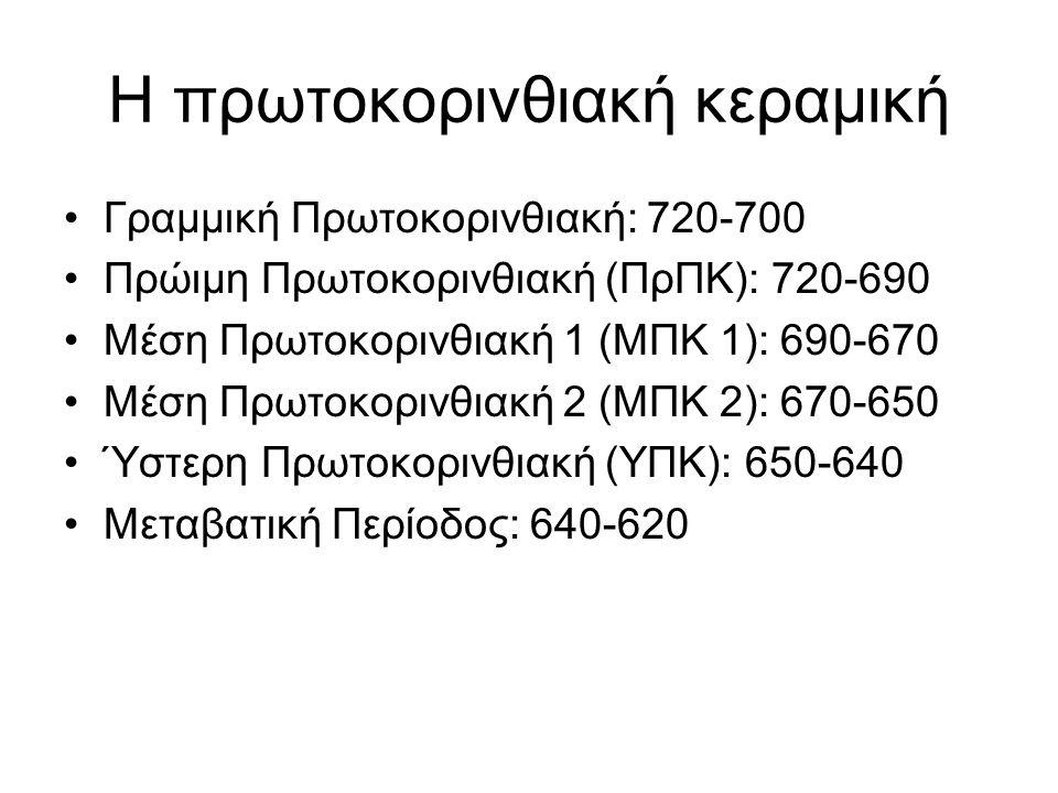 Η πρωτοκορινθιακή κεραμική Γραμμική Πρωτοκορινθιακή: 720-700 Πρώιμη Πρωτοκορινθιακή (ΠρΠΚ): 720-690 Μέση Πρωτοκορινθιακή 1 (ΜΠΚ 1): 690-670 Μέση Πρωτο