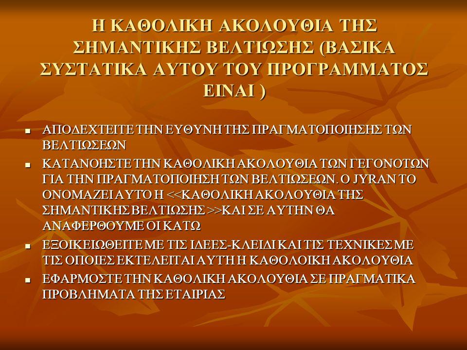 Η ΚΑΘΟΛΙΚΗ ΑΚΟΛΟΥΘΙΑ ΤΗΣ ΣΗΜΑΝΤΙΚΗΣ ΒΕΛΤΙΩΣΗΣ (ΒΑΣΙΚΑ ΣΥΣΤΑΤΙΚΑ ΑΥΤΟΥ ΤΟΥ ΠΡΟΓΡΑΜΜΑΤΟΣ ΕΙΝΑΙ ) ΑΠΟΔΕΧΤΕΙΤΕ ΤΗΝ ΕΥΘΥΝΗ ΤΗΣ ΠΡΑΓΜΑΤΟΠΟΙΗΣΗΣ ΤΩΝ ΒΕΛΤΙΩΣΕΩΝ ΑΠΟΔΕΧΤΕΙΤΕ ΤΗΝ ΕΥΘΥΝΗ ΤΗΣ ΠΡΑΓΜΑΤΟΠΟΙΗΣΗΣ ΤΩΝ ΒΕΛΤΙΩΣΕΩΝ ΚΑΤΑΝΟΗΣΤΕ ΤΗΝ ΚΑΘΟΛΙΚΗ ΑΚΟΛΟΥΘΙΑ ΤΩΝ ΓΕΓΟΝΟΤΩΝ ΓΙΑ ΤΗΝ ΠΡΑΓΜΑΤΟΠΟΙΗΣΗ ΤΩΝ ΒΕΛΤΙΩΣΕΩΝ.